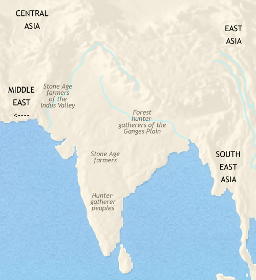 Map of India and South Asia at 3500BCE