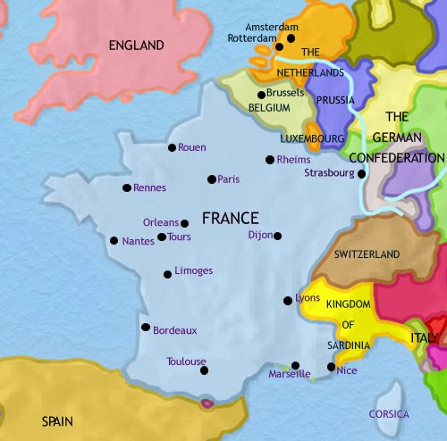 Map of France at 1837CE