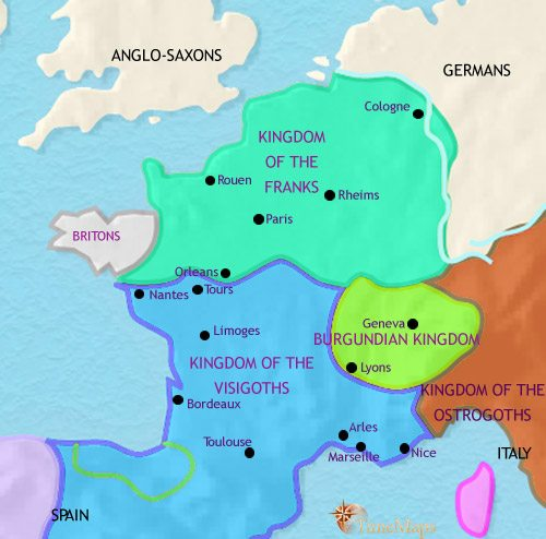 Map of France at 500CE