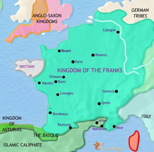 Map of France at 750CE