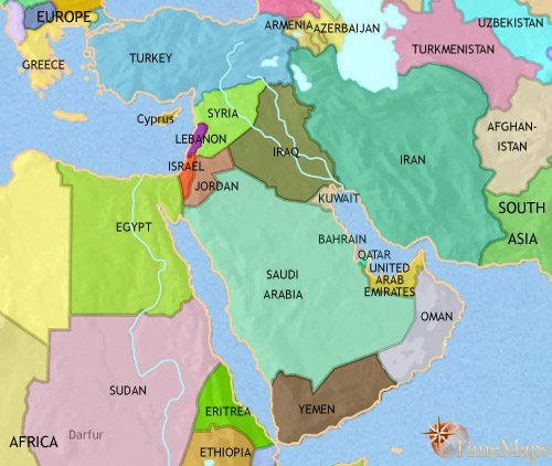 Map of Middle East at 2005CE