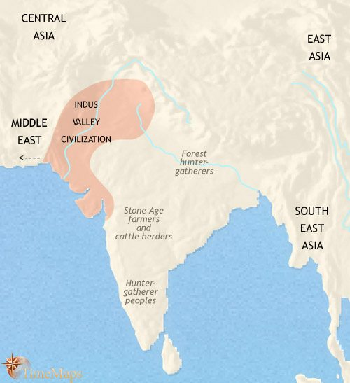 Map of India and South Asia at 2500BCE