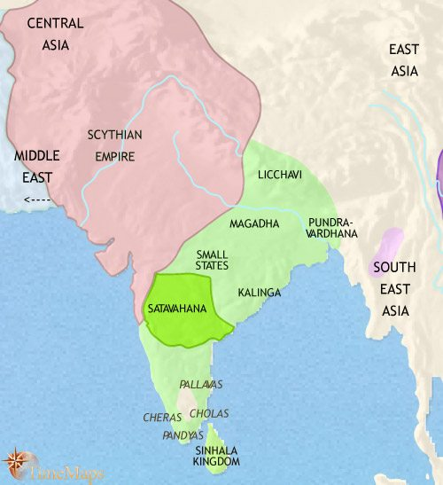 Map of India and South Asia at 30BCE
