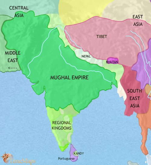 Map of India and South Asia at 1648CE