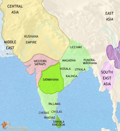 Map of India and South Asia at 200CE