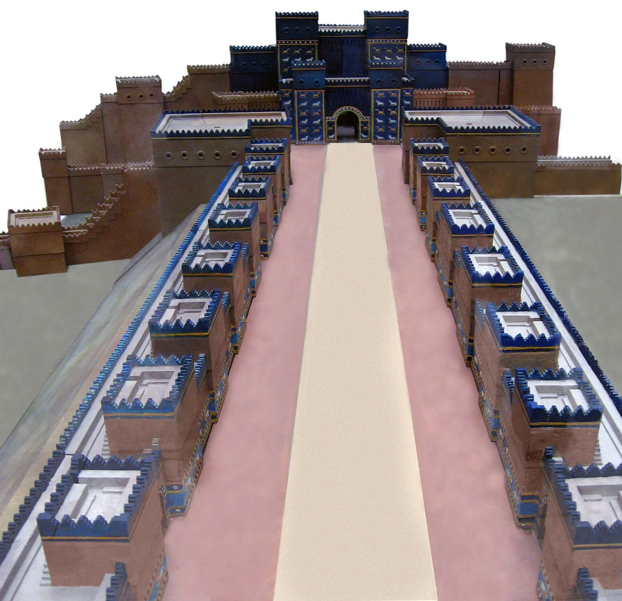 Avenue leading to the Ishtar gate, in ancient Babylon
