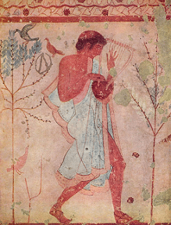 5th century BCE fresco of dancers and musicians, tomb of the leopards