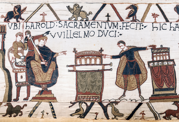 Harold swearing oath on holy relics to William, Duke of Normandy.