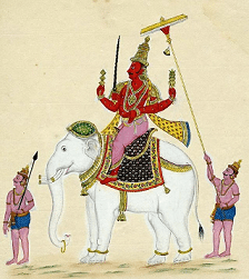 A painting of Indra on his elephant mount, Airavata.