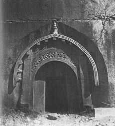 Mauryan architecture in the Barabar Mounts. Grottoe of Lomas Richi. 3rd century BCE.