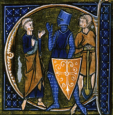 Medieval French manuscript illustration of the three classes of medieval society. Clergy, Knights and Peasantry