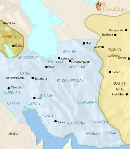 Map of Iran at 200CE