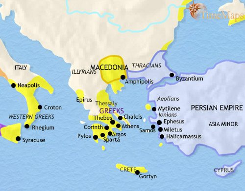 Map of Greece and the Balkans at 500BCE