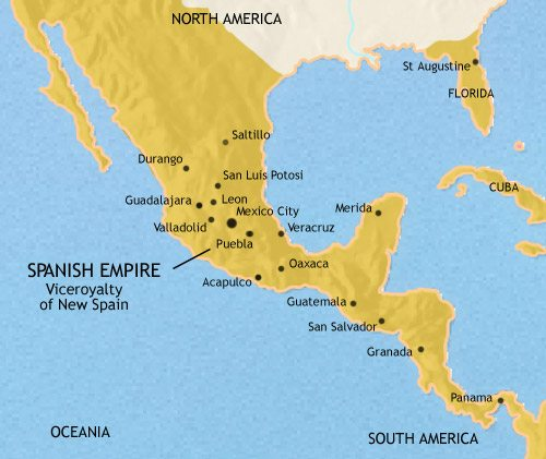 Map of Mexico and Central America at 1648CE