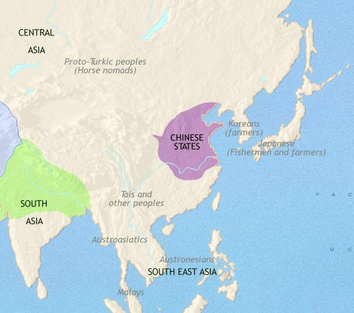 Map of East Asia: China, Korea, Japan at 500BCE
