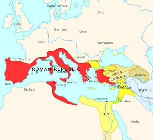 Map of Roman Empire at 100BCE