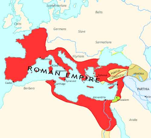Map of Roman Empire at 1CE