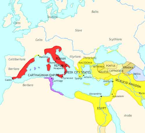 Map of Roman Empire at 200BCE
