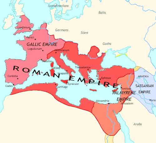 Map of Roman Empire at 260CE