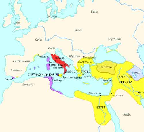 Map of Roman Empire at 270BCE