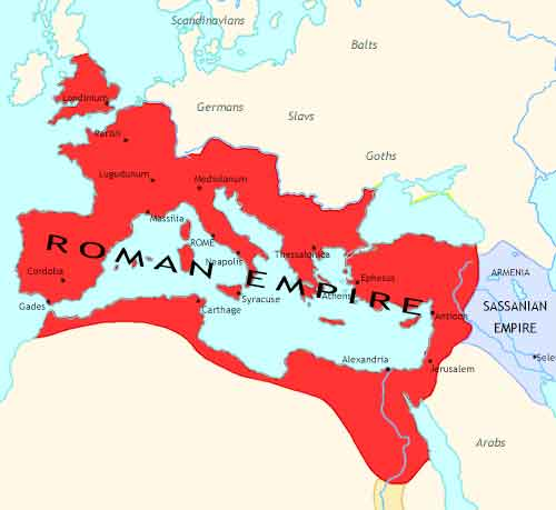 Map of Roman Empire at 305CE
