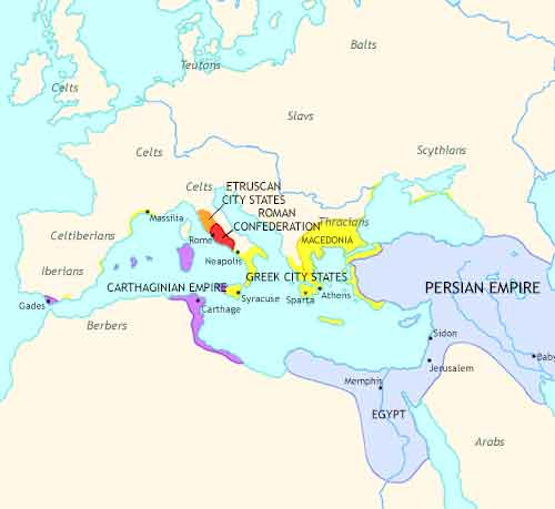 Map of Rise and Fall at 338BCE