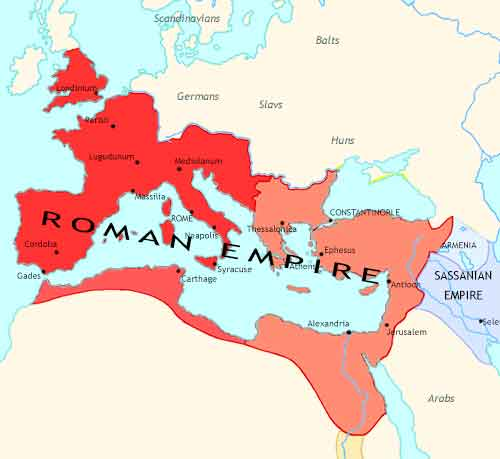 Map of Rise and Fall at 395CE