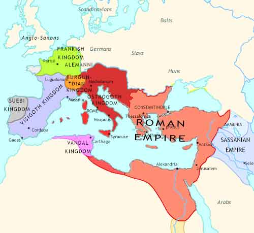 Map of Roman Empire at 500CE