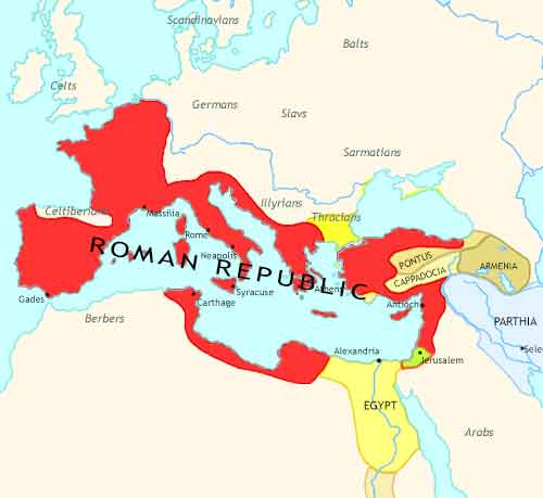 Map of Roman Empire at 50BCE