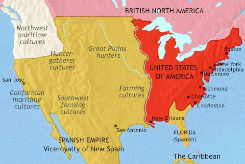 Map of The USA at 1789CE