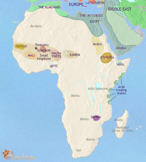 Map of Africa at 1215CE