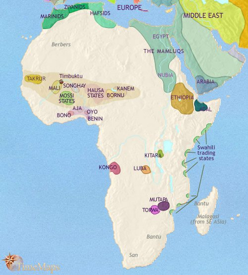 Map of Africa at 1453CE