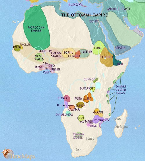 Map of Africa at 1648CE