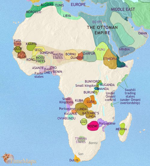 Africa History Map showing a declining ancient Egypt but expanding