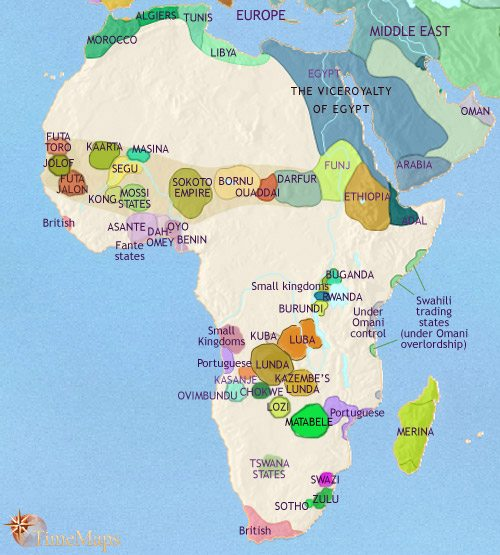 Map of Africa at 1837CE