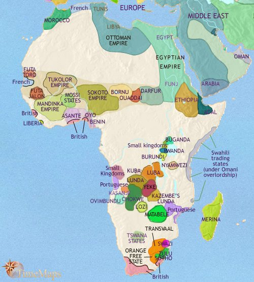 Map of Africa at 1871CE