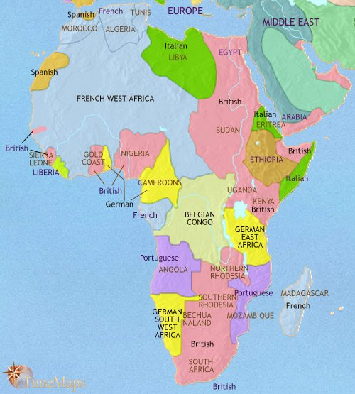 Map of Africa at 1914CE