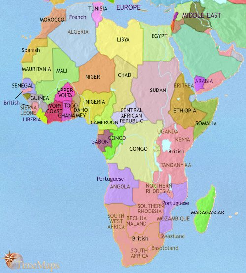 Map of Africa at 1960CE