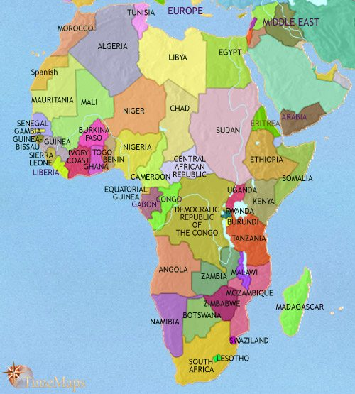 Map of Africa at 2005CE