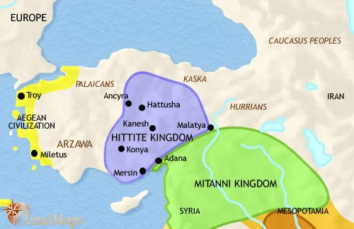 Map of Turkey at 1500BCE