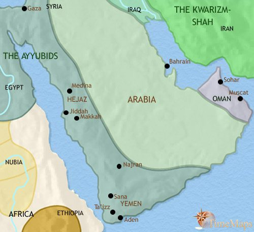 Map of Arabia at 1215CE