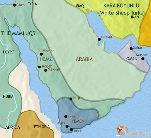 Map of Arabia at 1453CE