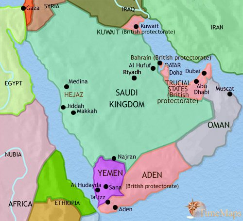 Map of Arabia at 1960CE
