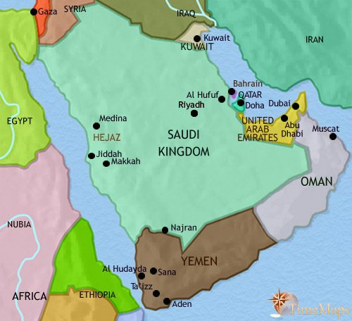 Map of Arabia at 2005CE
