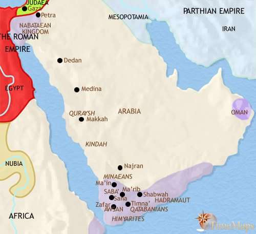 Map of Arabia at 30BCE