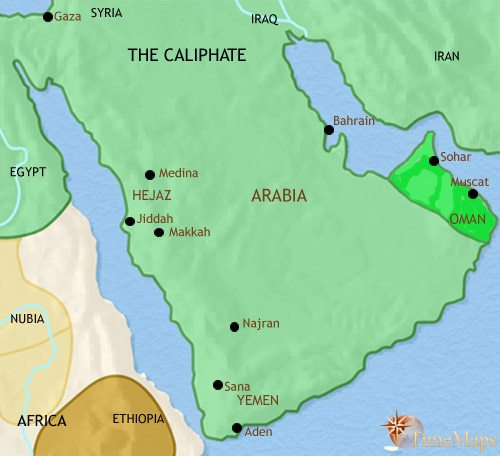 Map of Arabia at 750CE