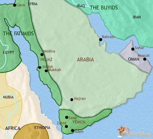 Map Of Arabia Map of Arabia at 979AD | TimeMaps