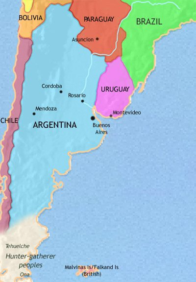 Map of Argentina, Paraguay and Uruguay at 1837CE