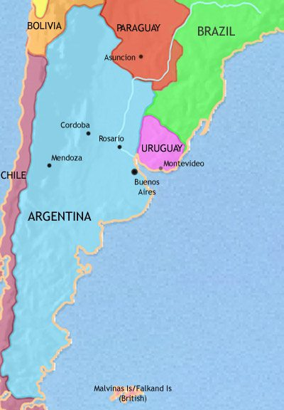 Map of Argentina, Paraguay and Uruguay at 1871CE
