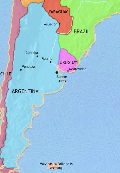 Map of Argentina, Paraguay and Uruguay at 1914CE